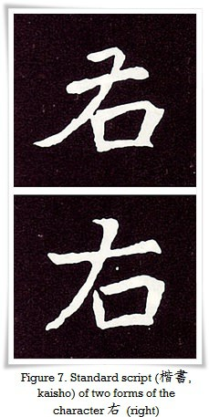Figure 7. Two forms of character 右 (right) from two different stelae of the Northern Wei dynasty(東魏, 534 - 550)