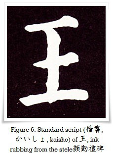 Figure 6. Standard script (楷書, かいしょ, kaisho) of 王